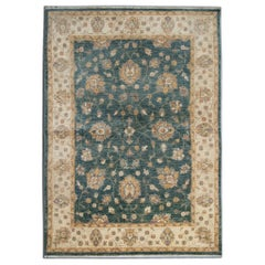 Wool Carpet Traditional Rug Floral Green Cream Wool Area Rug All Over