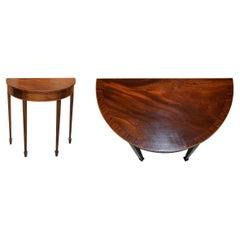Stunning circa 1900 Flamed Hardwood Demi Lune Console Side Table Sheraton Inlay