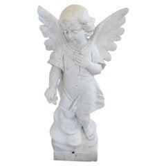 20th Century Italian Sculpture in Precious White Marble of Carrara, Angel