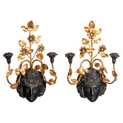 Pair of Neoclassic Style Giltwood and Painted Wall Lights