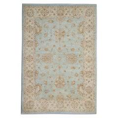 Handwoven Blue Rug Carpet Traditional Floral Area Rug All Over Design