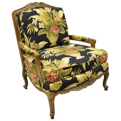 Thomasville French Provincial Louis XV Navy Blue Green Bergere Lounge Arm Chair