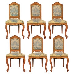 Set of Six 19th Century High Back French Louis XVI Style Carved Dining Chairs