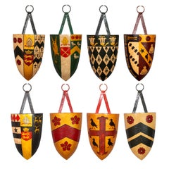 Set of Eight Painted Tole Shield Form Coats of Arms
