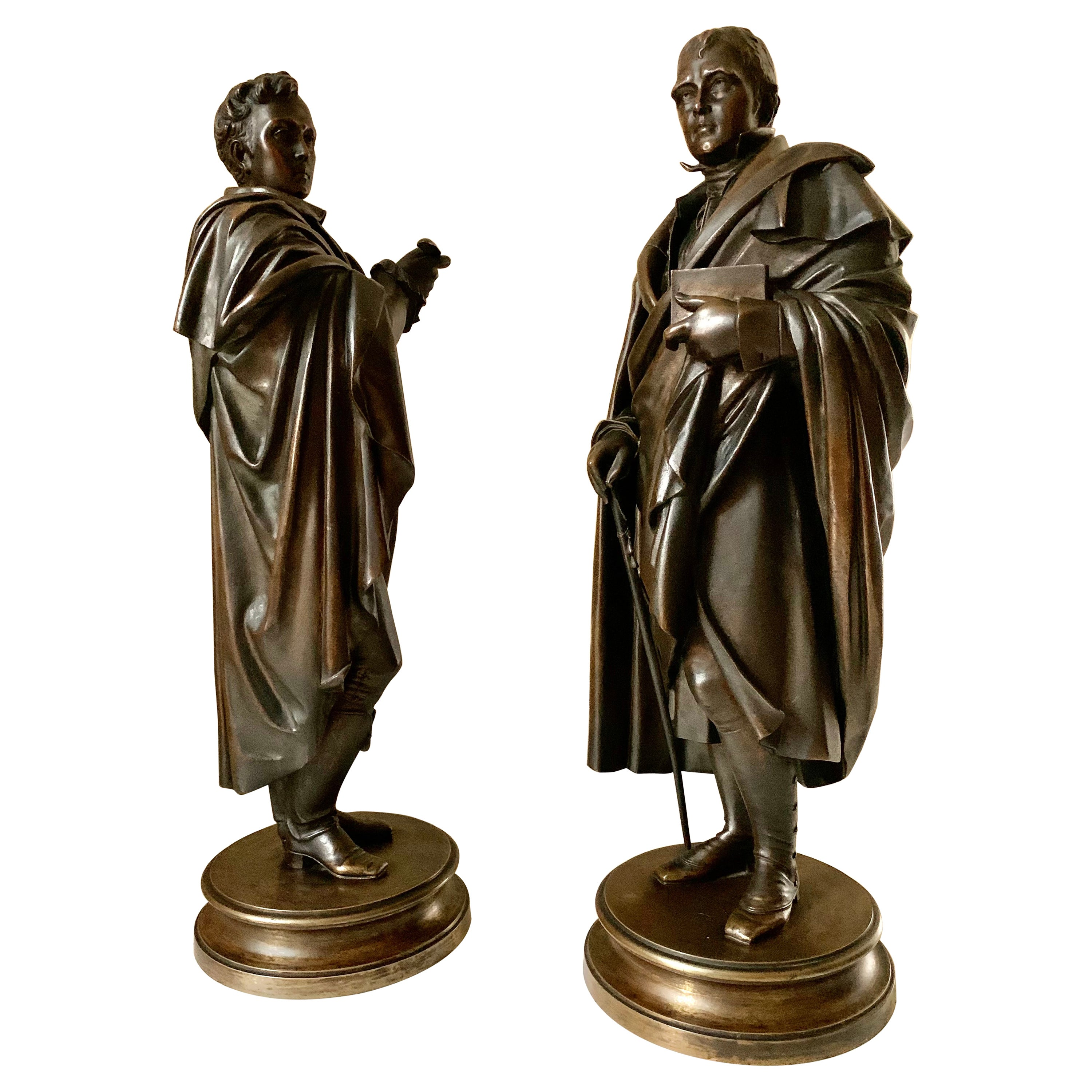 Antique Patinated Bronze Sculptures of Lord Byron and Sir Walter Scott