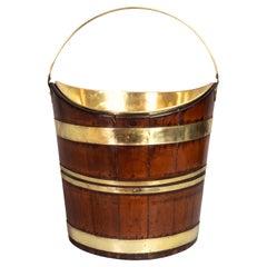 Dutch Mahogany and Brass Peat Bucket