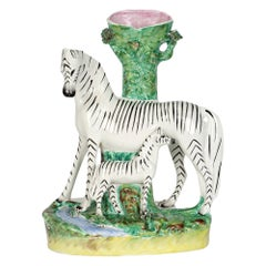 Staffordshire Large Rare Zebra and Foal Pottery Spill Vase