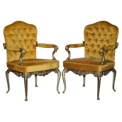 Pair of 1960's Brass Framed Hollywood Regency Style Orsenigo Italy Armchairs