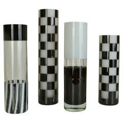 Set of Black and White Glass Vases