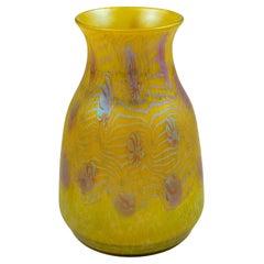 Austrian Jugendstil Glass Vase Yellow Iridescent circa 1903 Loetz