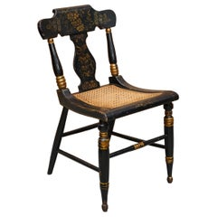 Important Circa 1825 Georgian Baltimore Ebonised Painted Gilt Bergere Side Chair