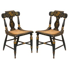 Pair of circa 1825 Georgian Baltimore Ebonised Painted Gilt Bergere Side Chairs