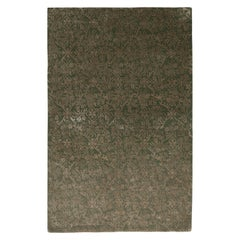 Rug & Kilim's Hand Knotted European Style Rug Beige-Brown Green Floral Pattern