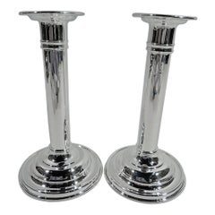 Pair of Antique Gorham Classical Sterling Silver Column Candlesticks