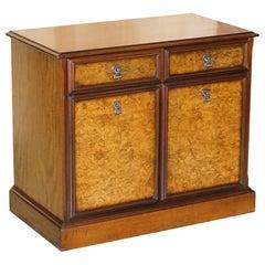 Lovely Burr & Quarter Cut Walnut Sideboard with Twin Drawers & Cupboard Base