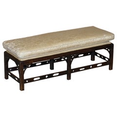 Antique Georgian Thomas Chippendale Two Person Ottoman Footstool Lovely Carving