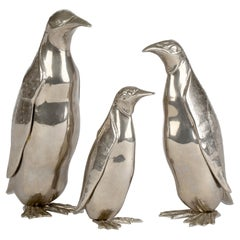 Italian Vintage Silver Plated Family of Three Penguins