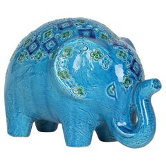 Aldo Londi Italian Bitossi Rimini Blu Stylized Pottery Elephant Figure