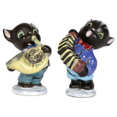 Cortendorf Bavarian Pair Mid-Century Novelty Pottery Cat Musician Figures