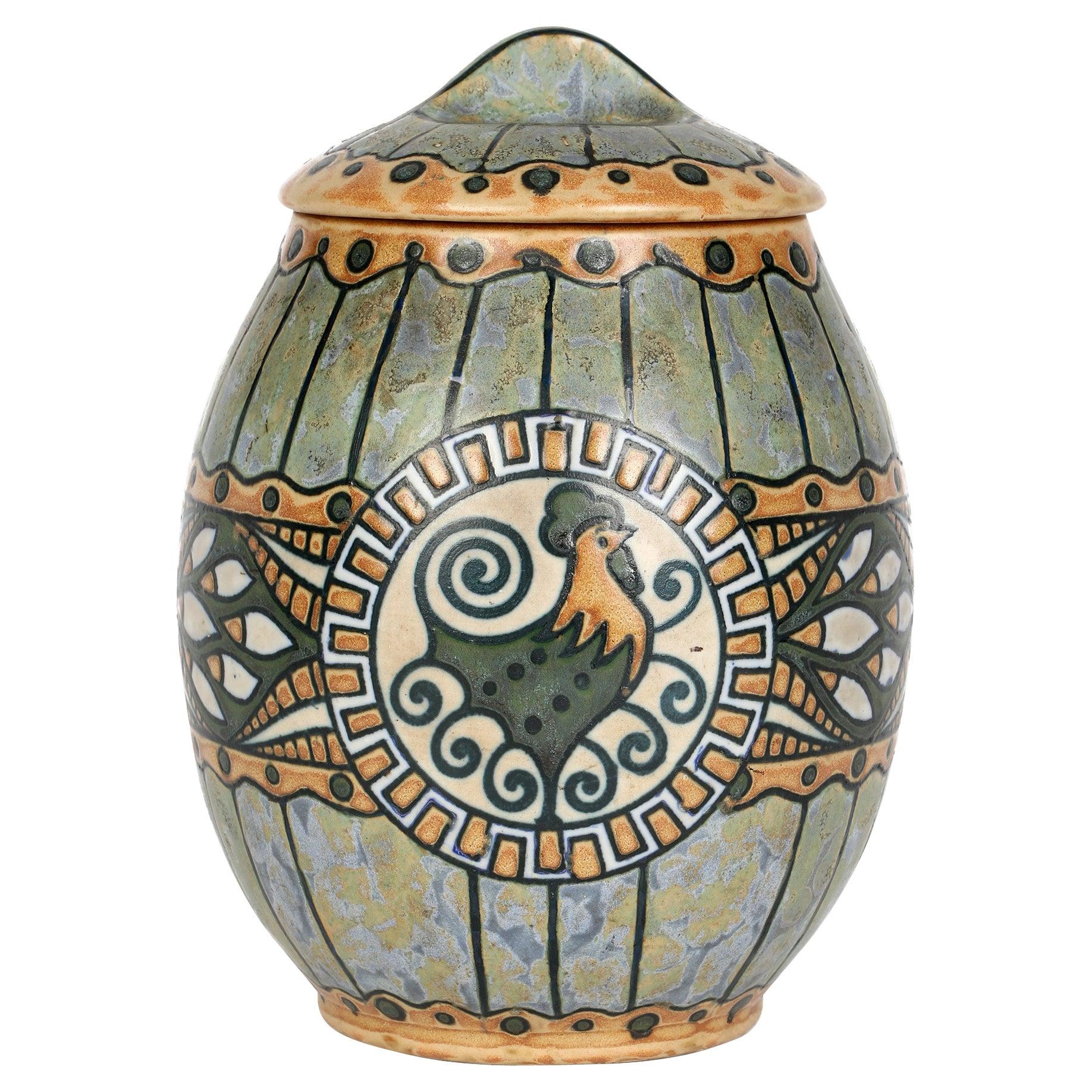 Charles Catteau Boch Freres Keramis Art Deco Pottery Lidded Cockerel Jar