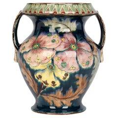 Royal Bonn Art Nouveau Twin Handled Hand Painted Floral Pottery Vase