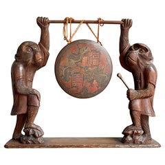 Antique Chinese Table Gong Held Up by Two Hand Carved Wooden Monkey Sculptures