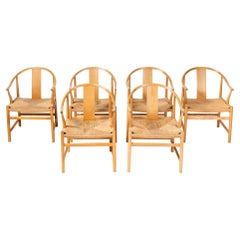 """Set of 6 Wegner PP66 """"Chinese Chairs"""" for PP Mobler in Oak and Papercord"""
