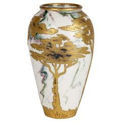 Gebrüder Heubach German Art Nouveau Gilded Trees Overlaid Porcelain Vase
