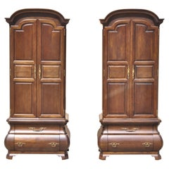 Warsaw Cabinetmaker French Provincial Bonnet Top Bombe Armoire Cabinets, a Pair