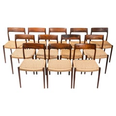 Set of 12 Moller 77 in Rosewood & Papercord