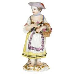 Meissen Girl with Basket and Flower Figurine After JJ Kaendler
