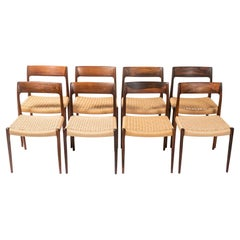 Set of 8 Moller 77 in Rosewood & Papercord
