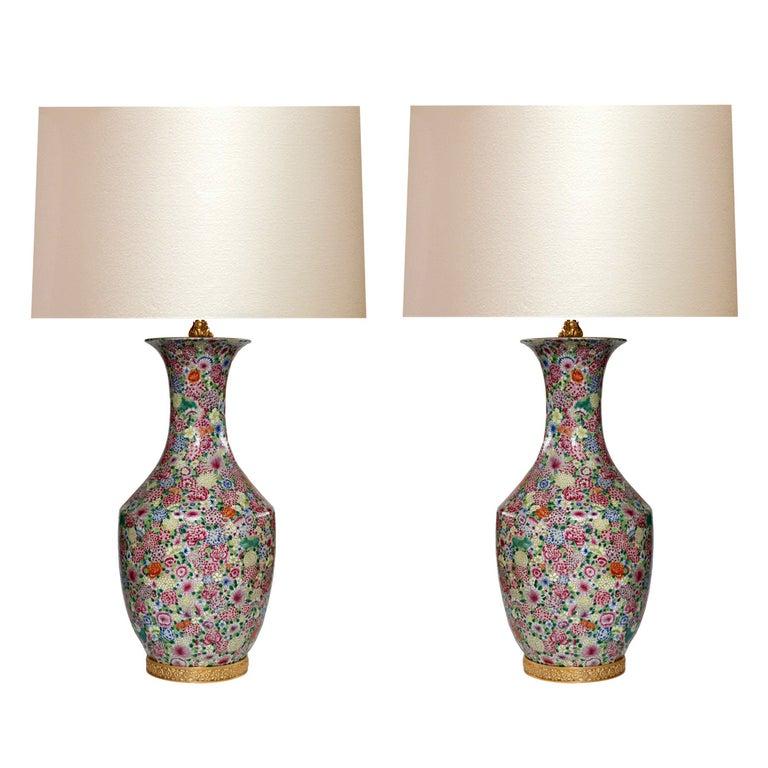 Pair of Familie Rose Porcelain Lamps For Sale