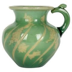 Burgin Schverer & Cie Unusual French Overlay Art Glass Handled Vase