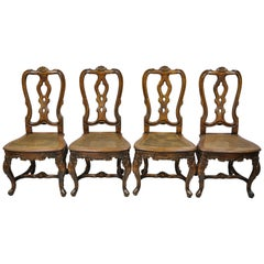 Spanish Rococo Baroque Style Solid Pine Wood Cane Seat Dining Chairs, Set of 4