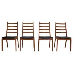 Kai Kristiansen Set of 4 Teak Ladder Back Dinning Room Chairs, 1960's, Denmark