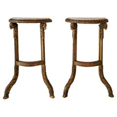 19th-C. French Neo-Classical Style Carved Ram Marble Top Console Tables, Pair