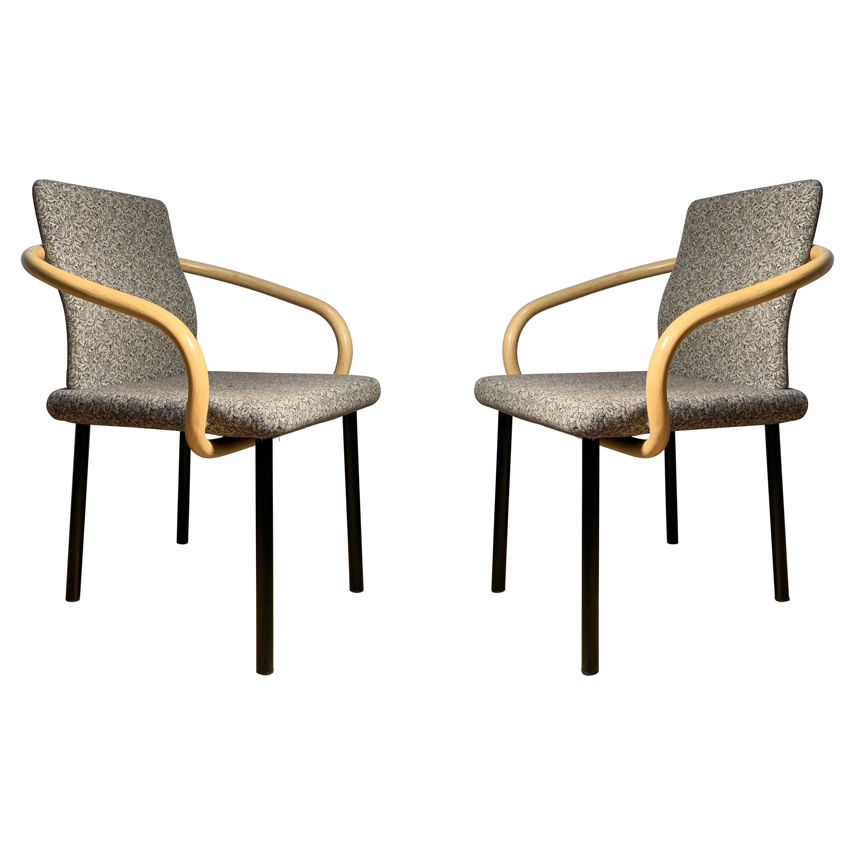 Pair of Ettore Sottsass for Knoll Mandarin Chairs Bamboo Arms
