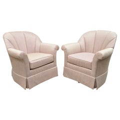 Mid Century Pink Purple Gilliam Furniture Channel Back Swivel Lounge Chair, Pair