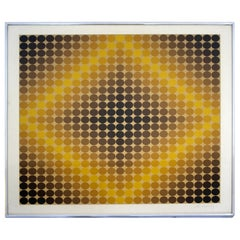 Mid-Century Modern Framed Victor Vasarely Signed Serigraph Op Art Dia-Or 1960s