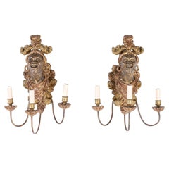 Pair of 19th Carved Wood Venetian Figural Wall Sconces