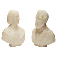 Marble Portrait Busts of Male and Female 19th Century American