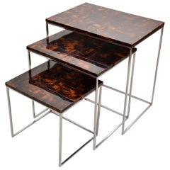Palecek Coconut & Chrome Nesting Tables / Stacking Tables Handcrafted, Set of 3