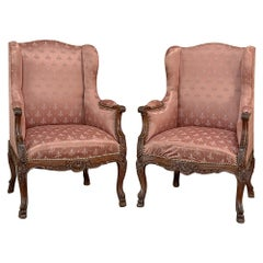 Pair Antique French Louis XV Bergeres, Armchairs