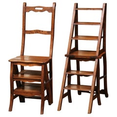 19th Century French Carved Walnut Step Ladder Folding Chair
