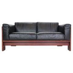 "Tobia Scarpa Black Leather ""Bastiano"" 2-Seater Sofa for Knoll, 1960s, Italy"