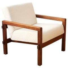 "Reino Ruokolainen, ""Stugo"" Lounge Chair, Stained Oak, Fabric, Sweden 1959"