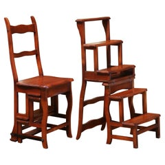 20th Century French Carved Cherry Chair Folding Step Ladder