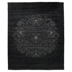 Fractal Spheres Inspired Hand Knotted Rug in Wool