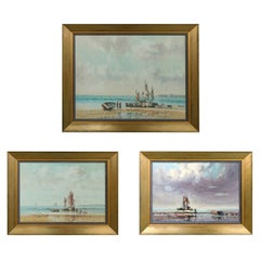 Oil on Canvas Laszlo Ritter 'Hungary, 1937-2003' 3 Beach Scene Paintings
